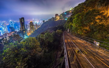 night, railroad, skyscrapers, the way, hill, hong kong