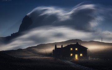 the sky, light, clouds, night, mountains, nature, landscape, house, the wind, long exposure