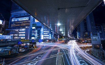 road, night, lights, the city, japan, street, tokyo, long exposure