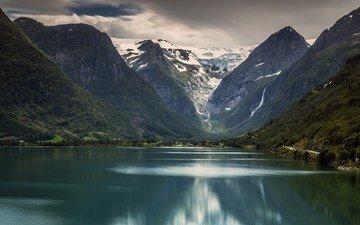 озеро, горы, норвегия, норвегии, национальный парк йостедалсбреен, ледник бриксдаль, jostedalsbreen national park, stryn, briksdalsbreen, briksdal glacier, стрюн