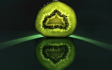 reflection, fruit, kiwi