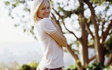 девушка, блондинка, улыбка, взгляд, трусики, модель, лицо, актриса, попка, кристен белл