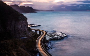 the sky, road, clouds, rocks, nature, landscape, sea, coast, track