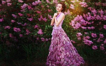 flowers, girl, dress, spring, lilac, closed eyes, lilac dreams