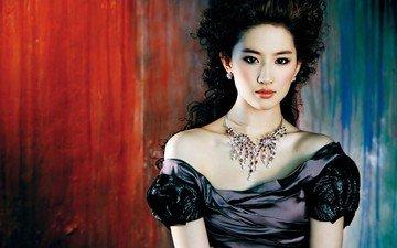 девушка, взгляд, модель, волосы, лицо, актриса, певица, черное платье, китайская, лю ифэй