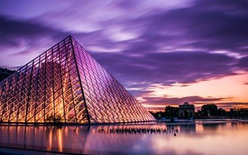 sunset, the city, paris, architecture, france, the louvre
