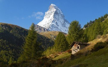 the sky, trees, mountains, slope, switzerland, house, alps, peak, sunny, matterhorn, zermatt, swiss alps