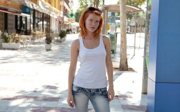 girl, look, red, street, jeans, hair, face, mia sollis