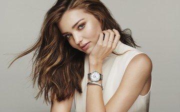 стиль, девушка, фон, платье, взгляд, часы, модель, волосы, лицо, макияж, миранда керр
