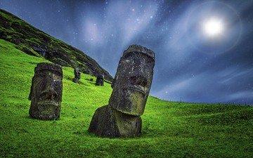 трава, природа, пейзаж, звезды, камень, остров пасхи, статуя, скульптура, чили, истукан, моай, рапануи