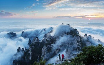 the sky, trees, mountains, nature, landscape, fog, china, alps, top, mountain relief