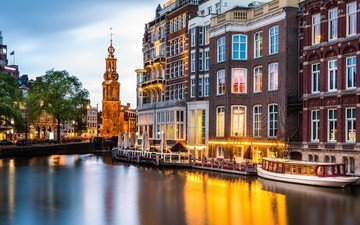 river, the city, channel, tower, promenade, the building, netherlands, amsterdam, ederland, munttoren