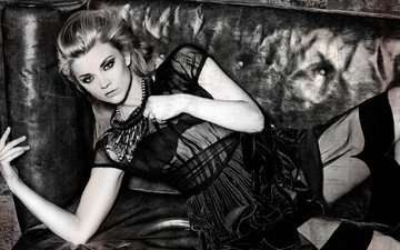 girl, look, black and white, hair, face, natalie dormer