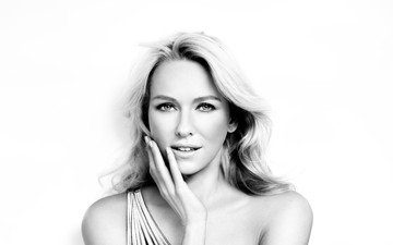 blonde, portrait, look, black and white, actress, naomi watts