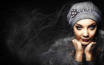 blonde, portrait, model, black background, face, actress, hat, blue eyes, celebrity, natalie dormer