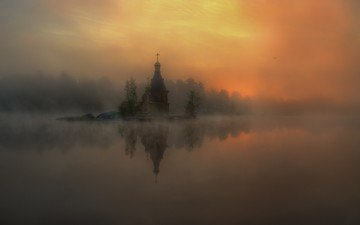 river, nature, landscape, fog, russia, church, alexander atoyan