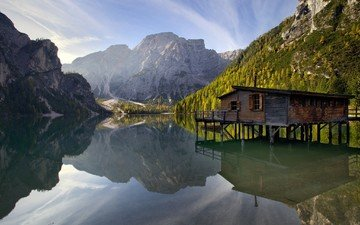 water, lake, mountains, nature, reflection, landscape, italy, house