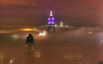 morning, fog, the city, tower, new york, skyscraper, empire state