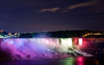 night, the evening, lake, river, stones, waterfall, squirt, backlight, twilight, niagara falls