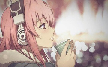 girl, anime, headphones, mug, tea