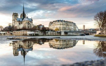 the evening, river, snow, winter, reflection, morning, the city, paris, france, the urban landscape, notre dame