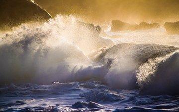 природа, волны, море, побережье, шторм, гаваи, oahu's north shore
