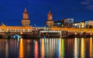 road, lights, river, bridge, the city, backlight, germany, lighting, berlin, capital, oberbaum