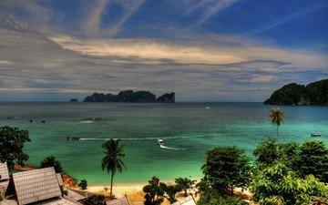 небо, облака, деревья, берег, море, пляж, горизонт, волна, залив, пальмы, океан, остров, бухта, тропики, карибский бассейн