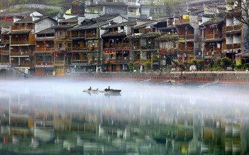 water, river, nature, fog, the city, home, birds, phoenix, china, the ancient city, the urban landscape, eisai