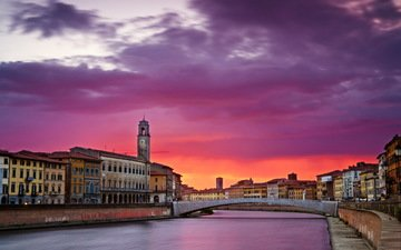 river, sunset, bridge, the city, home, italy, architecture, pisa, tucany