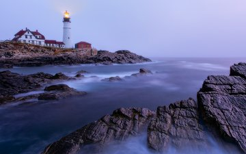 nature, sea, lighthouse, coast, the gulf of maine