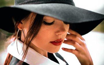 girl, portrait, lips, face, makeup, hat, closed eyes