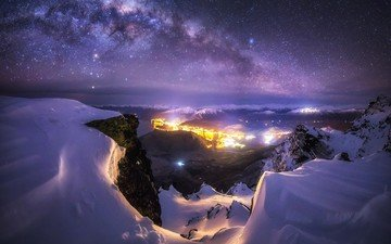 the sky, light, night, mountains, snow, nature, winter, landscape, stars, the city, new zealand, the milky way