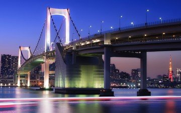 the sky, night, lights, bridge, japan, tower, megapolis, bay, home, building, lighting, excerpt, tokyo, capital