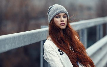girl, portrait, red, face, hat, long hair, brown eyes, alessandro di cicco, nose piercing, valentina galassi