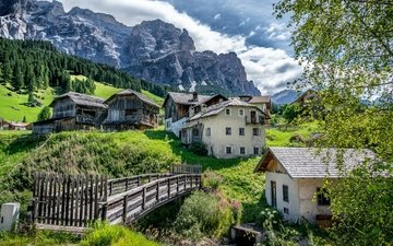 mountains, bridge, village, house, italy, the dolomites, san cassiano, alta badia