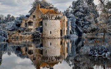 the sky, clouds, trees, water, river, shore, forest, reflection, castle, england, kent, scotney castle, scotney