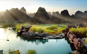 river, mountains, nature, landscape, china, valley, the village, guilin