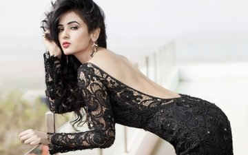brunette, model, actress, black dress, indian, sonal chauhan