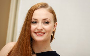 girl, smile, portrait, red, model, face, actress, long hair, celebrity, sophie turner