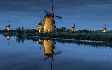 river, reflection, landscape, channel, mill, windmill, holland, kinderdijk