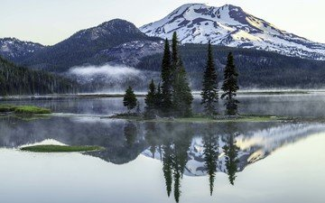 lake, mountains, reflection, landscape, fog, oregon, sparks lake, deschutes county