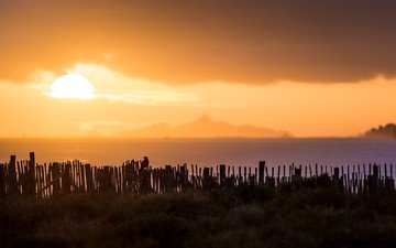 the sky, grass, clouds, the sun, sunset, landscape, sea, horizon, the fence, corsica
