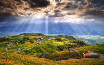 the sky, trees, mountains, nature, clouds, people, home, valley, the sun's rays, sunlight