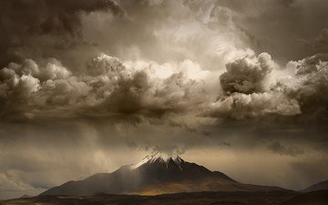 the sky, light, nature, storm, landscape, mountain, snow peak
