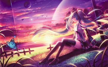 art, lake, sunset, girl, butterfly, planet, vocaloid, sitting, hatsune miku, tidsean