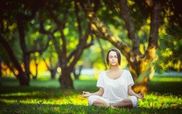 grass, trees, girl, park, pose, meditation, sunlight, closed eyes