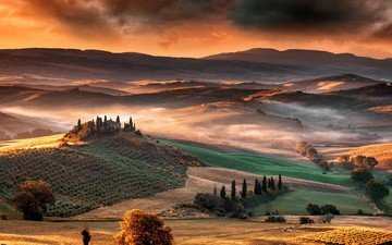 the sky, trees, sunrise, hills, nature, clouds, landscape, fog, mountain, italy, valley, tuscany