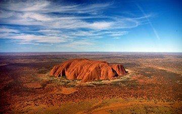 небо, облака, пейзаж, скала, пустыня, равнина, австралия, национальный парк, улуру-ката тьюта. австралия., улуру-ката тьюта, айерс рок
