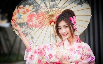улыбка, взгляд, волосы, зонтик, кимоно, японка, азиатка